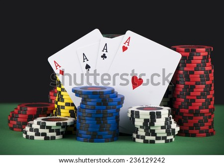 Poker Chips - stock photo