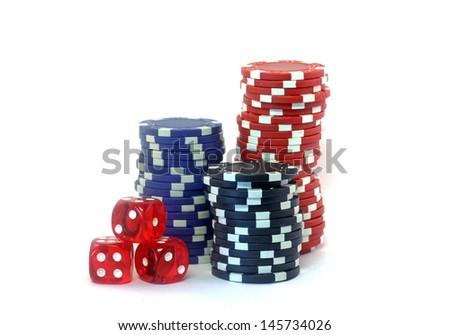 Poker chips and dice isolated on white background
