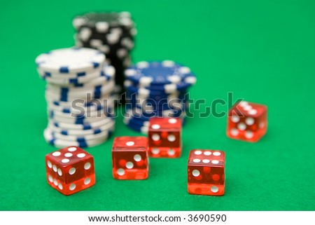 Poker Chips and Red Dice