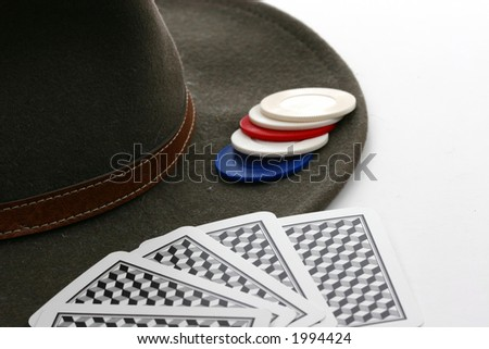 Poker Chips, Cards, and Cowboy Hat