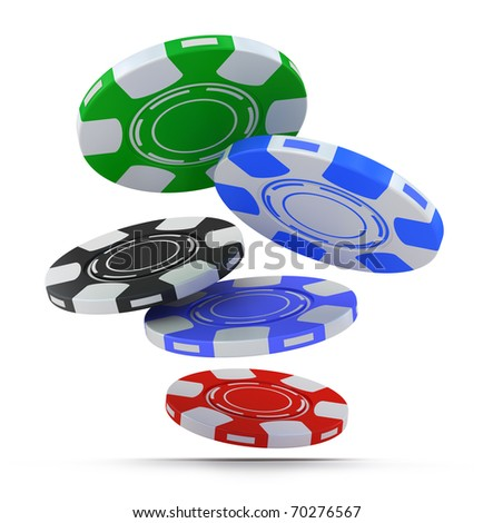 Poker chips falling fron above isolated on white - stock photo