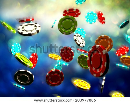 Poker Chips falling with dramatic lighting concept for gambling and poker game. - stock photo