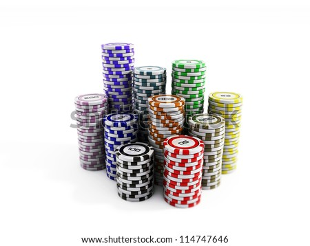 poker chips isolated - stock photo