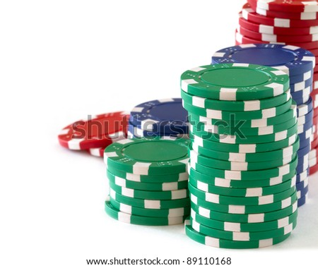poker chips over white background - stock photo