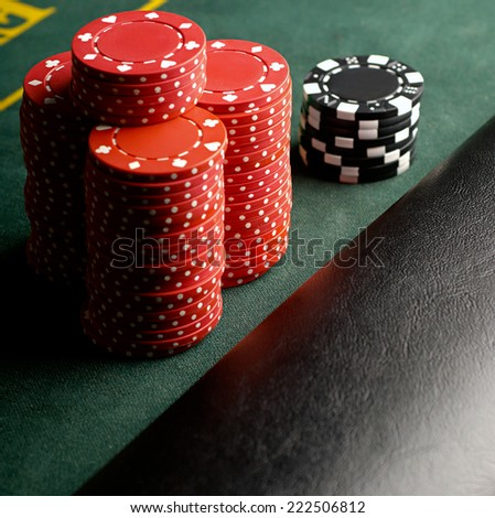 poker chips stack - stock photo