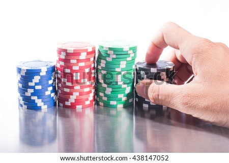 poker chips stack with reflections