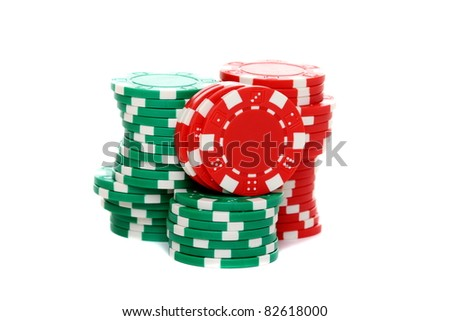 Poker chips stacked isolated on a white background.