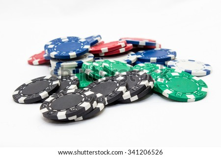 poker chips, studio shot on a white background - stock photo