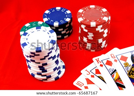 Poker Chips with playing cards