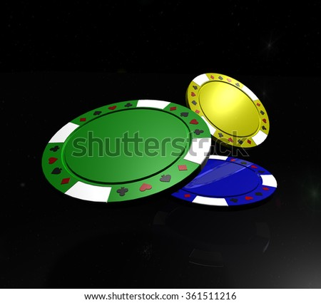 Poker chips with reflection on black background - stock photo