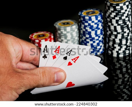 Poker Combination chips Playing cards in casino - stock photo