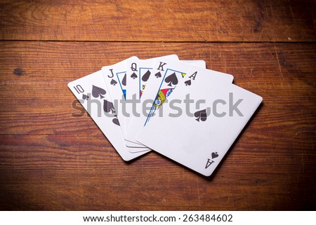 Poker. Combination Royal Flush spades - stock photo