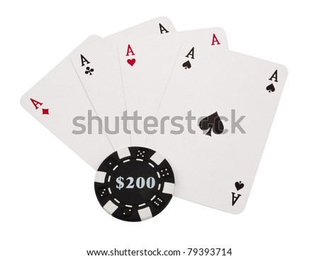 Poker Four aces and chips  isolated on a white background