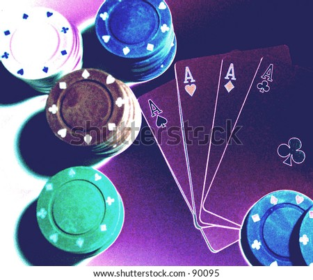 Poker Hand in Negative - stock photo