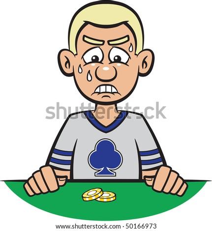 Poker man losing game - stock photo