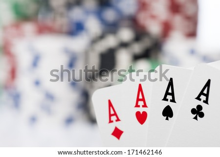 poker of aces - stock photo