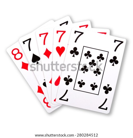 Poker ranking combination four of a kind seven isolated on white background
