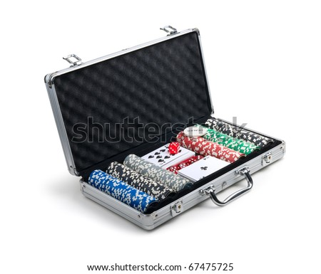 Poker set in a metallic case isolated on a white background. Isolated path included. - stock photo