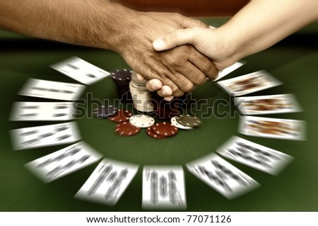 Poker table with cards ans chips - stock photo