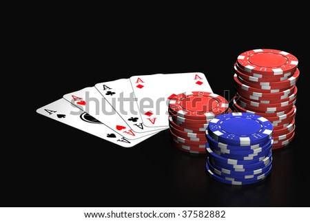Poker winning hand isolated over a black background.
