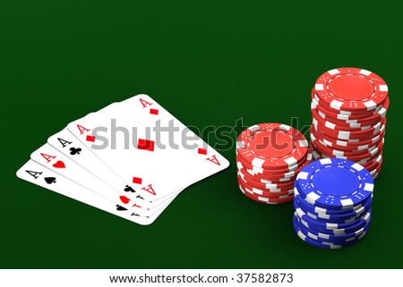 Poker winning hand over a green background.