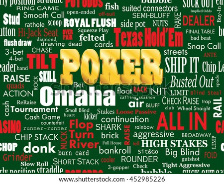 Poker Word Cloud with Industry Vernacular, Seamless, over Green. High-resolution raster JPEG version.  - stock photo