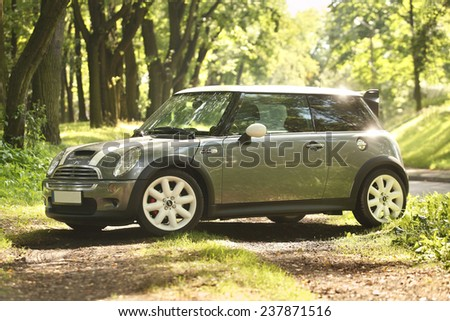 Poland, August 29 2014: Mini Cooper S in the forest - stock photo