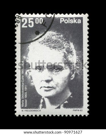 POLAND - CIRCA 1982: A cancelled stamp printed in Poland, shows famous polish Nobel prize winner in 1903, 1911 - physicist, scientist, radioactivity observer Marie Sklodowska-Curie, circa 1982. - stock photo