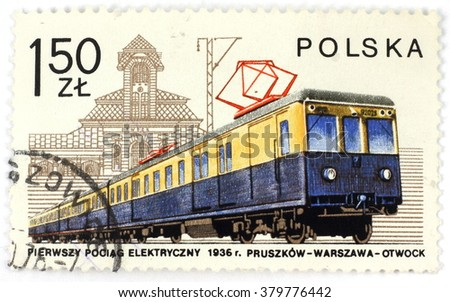 POLAND - CIRCA 1979: A postage stamp printed in Poland shows the first Polish electric train from 1936, circa 1979 - stock photo