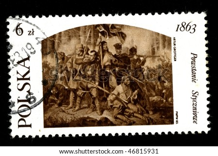 POLAND - CIRCA 1983: A postage stamp printed in the Poland shows image of the history of Poland, revolt 1863 in Poland (Artur Grottger), circa 1983