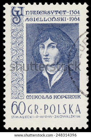 POLAND - CIRCA 1964: A stamp is printed in Poland shows Nicolaus Copernicus, circa 1964. - stock photo