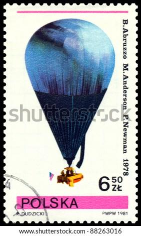 POLAND- CIRCA 1981: a stamp printed by Poland, shows  air-balloon  flown by  B. Arbuzzo, M. Anderson, P. Newman,  1978, cirka 1981 - stock photo