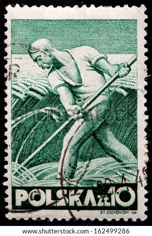 POLAND - CIRCA 1947: A stamp printed by POLAND shows Farmer harvests, circa 1947 - stock photo