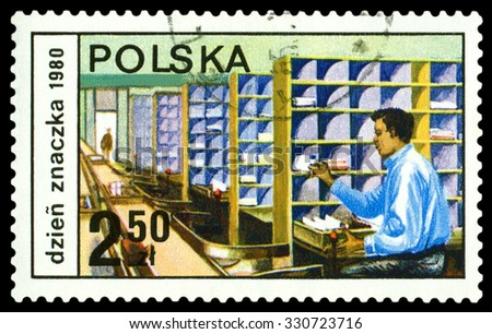POLAND - CIRCA 1980: a stamp printed by Poland shows  Letter sorting, professions, circa 1980 - stock photo