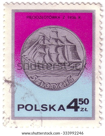 POLAND - CIRCA 1977: a stamp printed by POLAND shows vessel, circa 1977 - stock photo