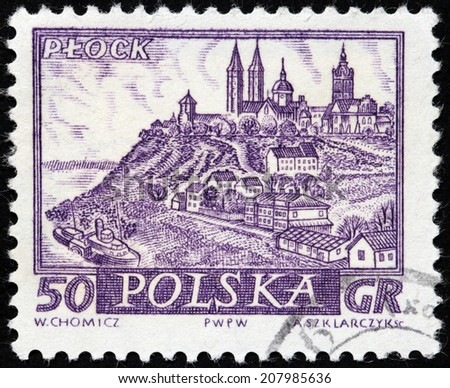 POLAND - CIRCA 1960: A stamp printed by POLAND shows view of Plock - a city on the Vistula river, in central Poland, circa 1960