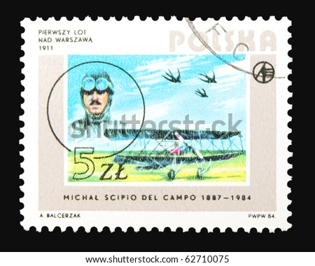 POLAND - CIRCA 1984: A stamp printed in Poland dedicated to first flight over Warszawa, circa 1984