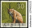 "POLAND - CIRCA 1965: A stamp printed in Poland from the ""Forest Animals"" issue shows a lynx, circa 1965. - stock photo"