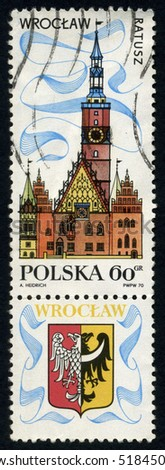 POLAND - CIRCA 1970 A stamp printed in Poland from the Tourism (2nd series) issue shows Town Hall, Wroclaw, circa 1970