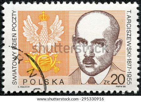 """POLAND - CIRCA 1988: A stamp printed in Poland from the """"World Post Day """" issue shows Postal Emblem and Tomasz Arciszewski (Postal Minister, 1918-19), circa 1988. - stock photo"""