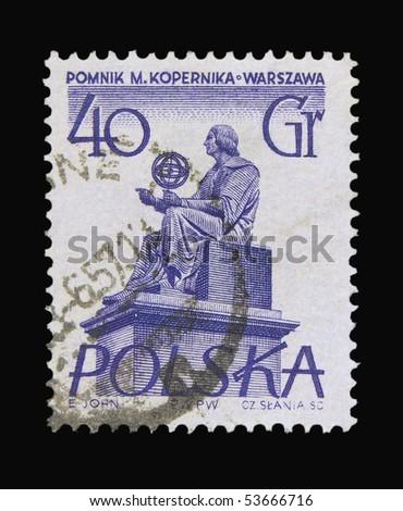 POLAND - CIRCA 1971: a stamp printed in Poland showing Mikolas Kopernik monument, circa 1971 - stock photo