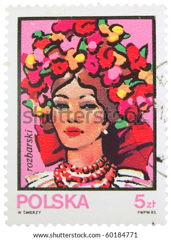 POLAND - CIRCA 1983: A stamp printed in Poland showing portrait of beautiful woman, circa 1983 - stock photo