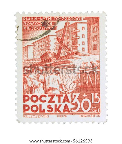 POLAND - CIRCA 1967: A stamp printed in Poland showing six years plan of new flats construction, circa 1967 - stock photo