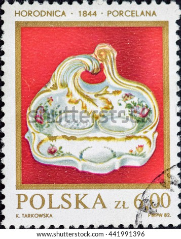 """POLAND - CIRCA 1982: A stamp printed in Poland shows a Salt and pepper dish, 1844 (Horodnica), with the same inscription, from the series """"Polish Porcelain and Faience"""", circa 1982 - stock photo"""