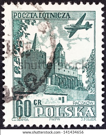 POLAND - CIRCA 1954: A stamp printed in Poland shows airplane over Paczkow, circa 1954.