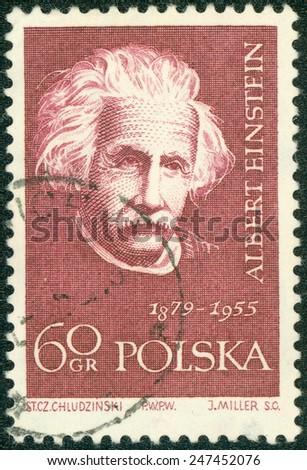 POLAND - CIRCA 1959: A stamp printed in Poland shows Albert Einstein (1879-1955), series, circa 1959 - stock photo