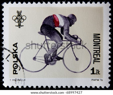 POLAND-CIRCA 1976: A stamp printed in Poland shows bicycling, devoted 21st Olympic Games in Montreal, series, circa 1976 - stock photo