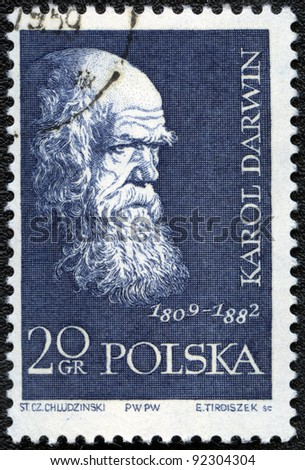 POLAND - CIRCA 1959: A stamp printed in Poland shows Charles Darwin (1809-1882), series, circa 1959 - stock photo