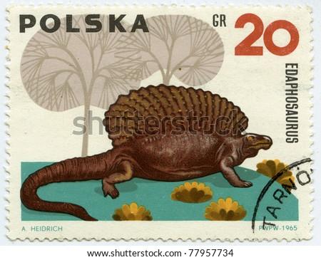 POLAND - CIRCA 1965: A stamp printed in Poland, shows Edaphosauridae - extinct herbivorous pelycosaurs, circa 1965 - stock photo