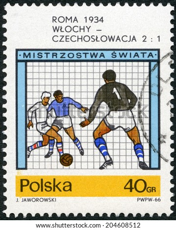 POLAND - CIRCA 1966: A stamp printed in Poland shows final soccer game,  Italy - Czechoslovakia, 2-??1, World Cup Soccer Championships, Rome, 1934, circa 1966  - stock photo